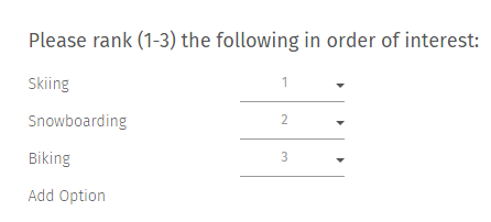 Rank Order Multiple Choice Question