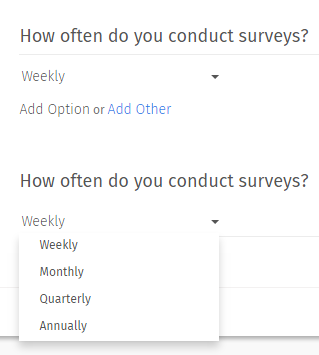 Drop Down Menu Multiple Choice Questions